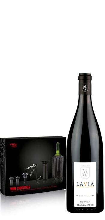 Estuche Wine Essentials + vino tinto Lavia