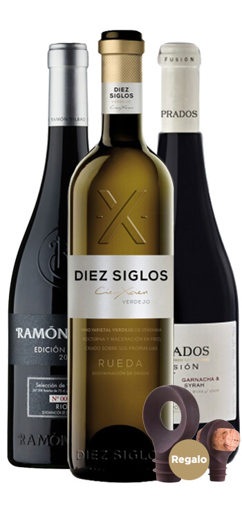Pack de Tres vinos para Papá + Tapones Vacu Vin de Regalo