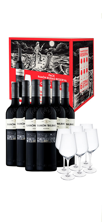 Caja de 6 botellas Ramón Bilbao Reserva + copas