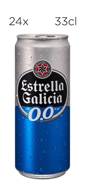 Cerveza Estrella Galicia Sin Alcohol 0,0. Caja de 24 latas de 33cl.
