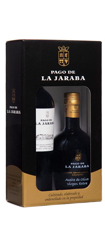 Estuche Vino Tinto y Aceite de Oliva Virgen Extra Pago de la Jaraba
