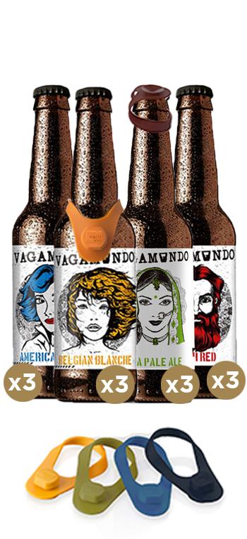 Pack de 12 Cervezas Vagamundo + Macadores Vacu Vin
