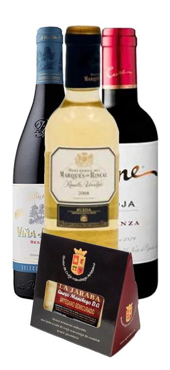 Pack de 3 Vinos de 37.5cl y Queso Artesano