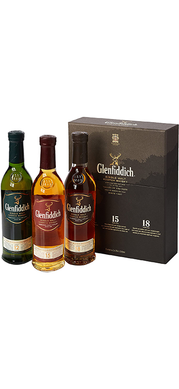Pack Whisky Glenfiddich 12+15+18 años de 20cl