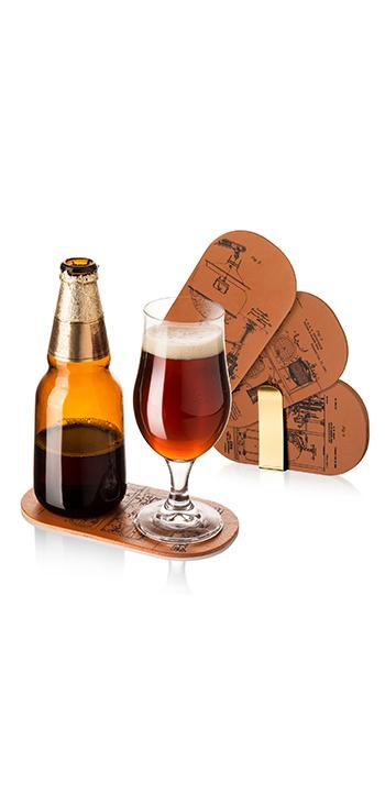 Posabotellas y vaso de cerveza 6 unid.