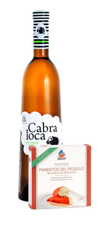 Pack Vino Blanco Verdejo Cabra Loca con pimientos rellenos de bacalao Laurel