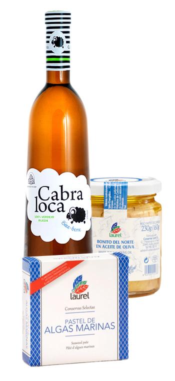 Pack Vino Blanco Verdejo Cabra Loca con pastel de algas y bonito en aceite Laurel